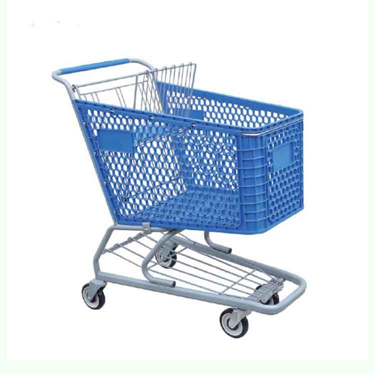 150L Steel Frame Plastic Superamrket Shopping Trolley