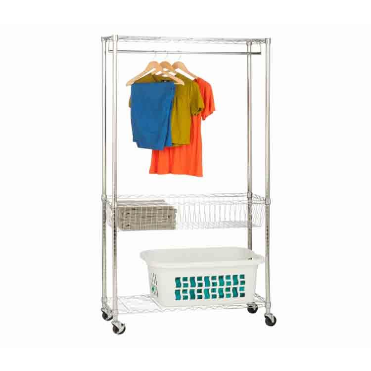 Household wire shelving garment rack